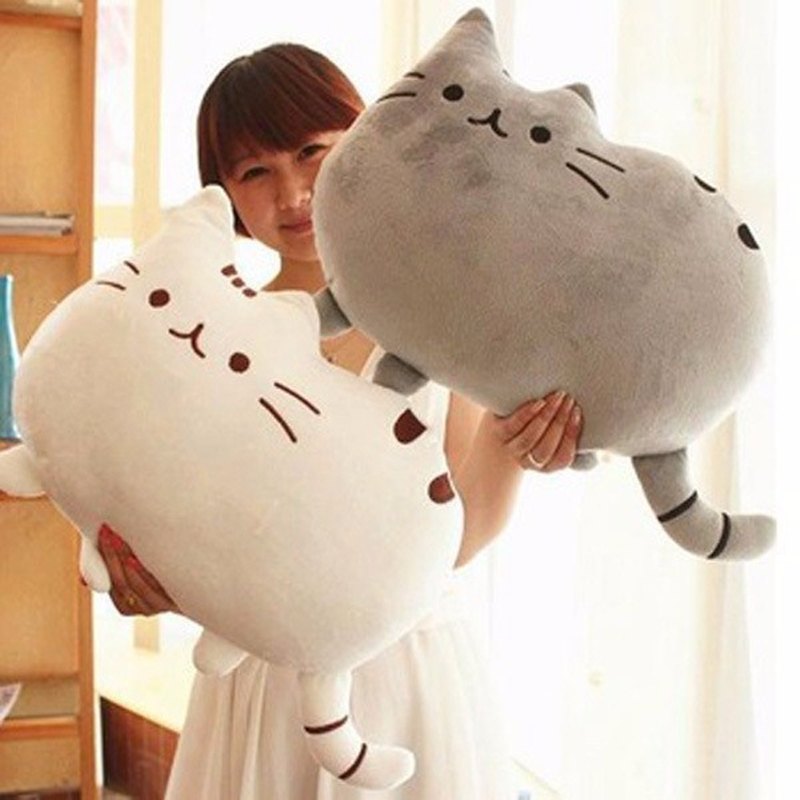 Kawaii Brinquedos New Pusheen Cat Pillow With Zipper Only Skin Without PP Cotton Biscuits Kids Toys Big Cushion Cover Peluche(China (Mainland))
