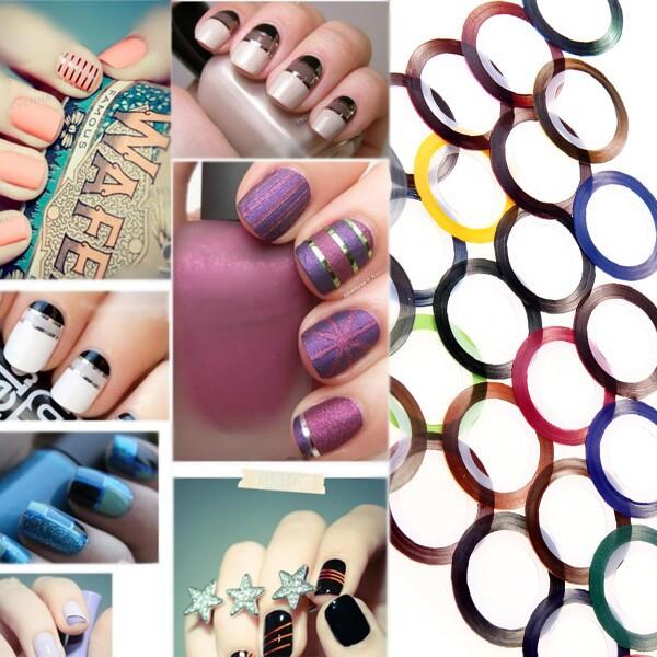 Nail Stickers tools 30 Mix Color Metallic Yarn Line Rolls Striping Tape Nail Art Beauty Decoration Sticker(China (Mainland))