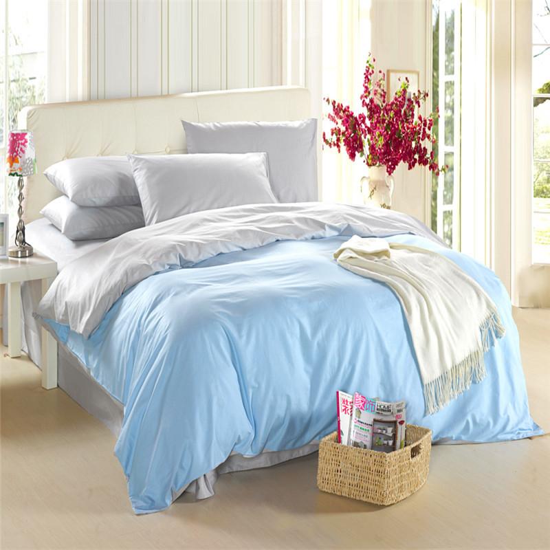 ألوان زاهية 36 غرفة نومك أنيقة بسيطة 100% رد الفعل مصبوغ القطن الصلبة مزدوجة-- لون غطاء لحاف تعيين الملكة(China (Mainland))