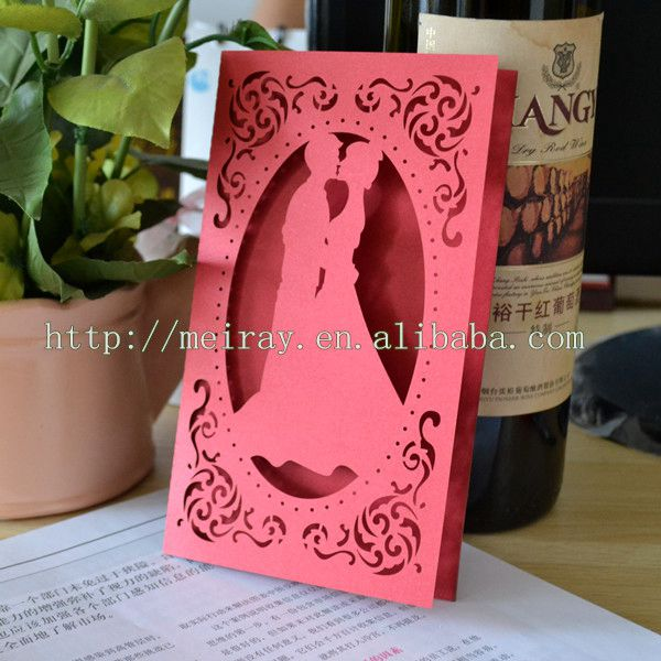 Wedding and party decoration Event & Party Item type red personalized Art Deco wedding invitation card(China (Mainland))