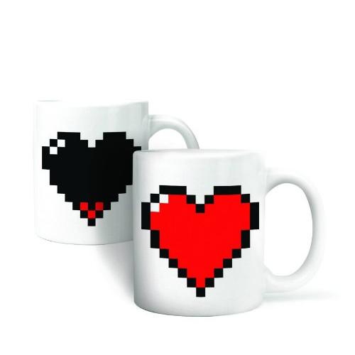 Heat Colour Change Mug Cup (Pixel Heart) Wonderful Gift(China (Mainland))