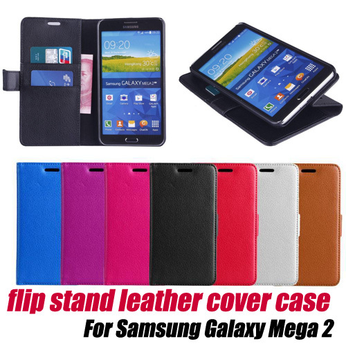 10pcs/lot.Leather Wallet Card Holder Flip Case Cover stand for Samsung Galaxy Mega 2 6'' G7508Q G750F,free shipping