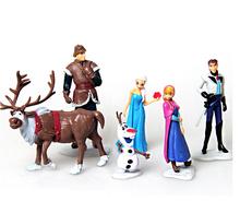 6pcs/set New 8cm Anime Anna And Elsa Princess Hans Kristoff Sven Olaf PVC Action Figures Toys Hot Toys for children