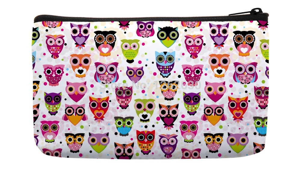 Pink Little Colorful Cute Owls animal Pattern Print Custom Small Cosmetic Bag Wristlet hand bag(China (Mainland))