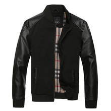 Men British Style Jacket New Fashion  Autumn and Winter Men High Quality Leather Patchwork Casual Jaqueta Masculina (China (Mainland))