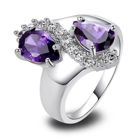 Wholesale Charming Exquisite Pear Cut Amethyst 925 Silver Ring Size 7 8 9 10 New Fashion
