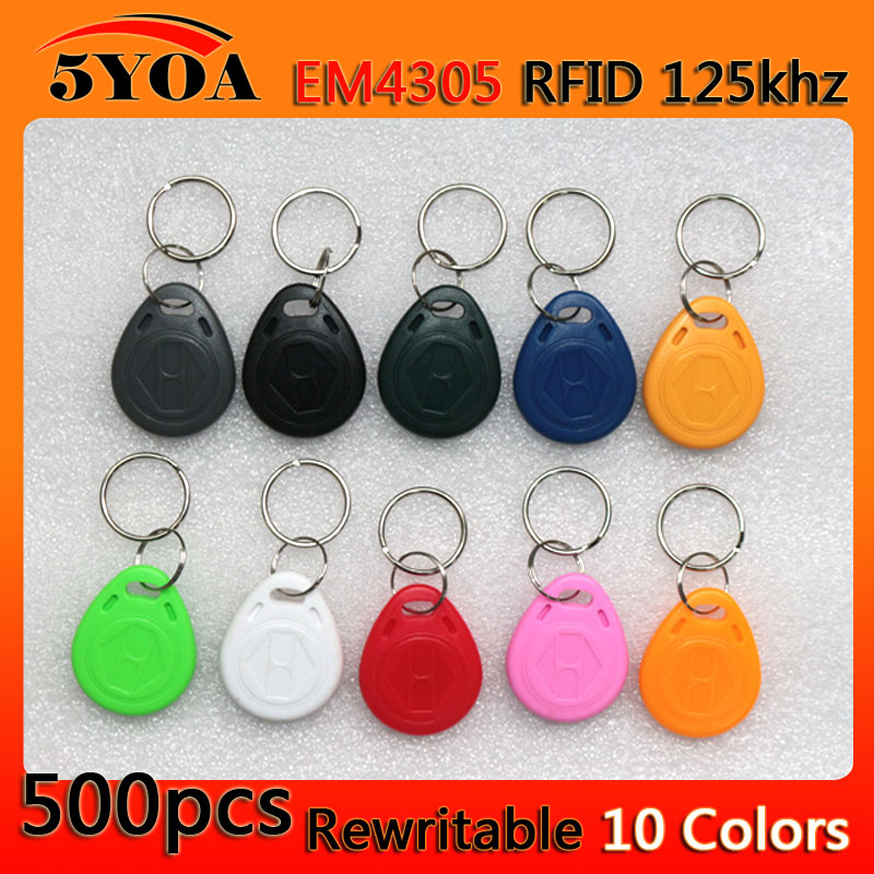 500pcs em4305 Copy Rewritable Writable Rewrite Duplicate RFID Tag Proximity ID Token Key Keyfobs Ring 125Khz Card Access(China (Mainland))