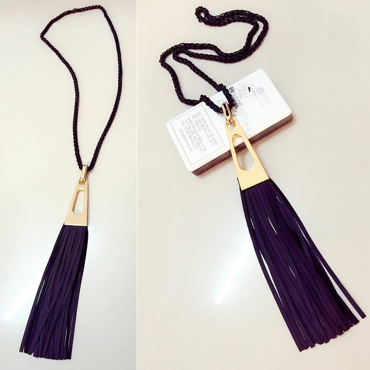 2015 new trendy long design black tassel necklaces pendants for women fashion jewelry female gift