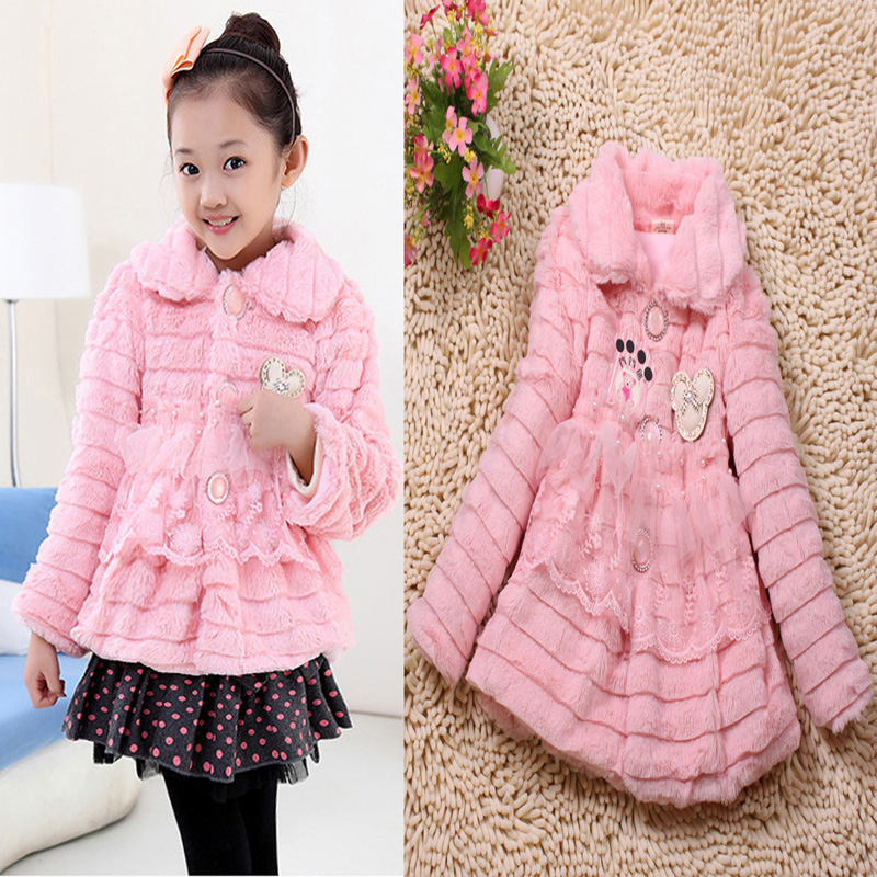 New 2015 Fashion girls faux Fur coat Outerwear pink jacket girl fur Collar Children winter coat 2-3 year old children clothes(China (Mainland))