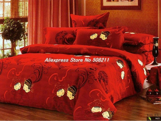 Wholesale,Happy Together Roseo Quality Cotton 4Pcs King Bed Thickened Sanding Red Wedding Duvet Comforter Bedding Sets