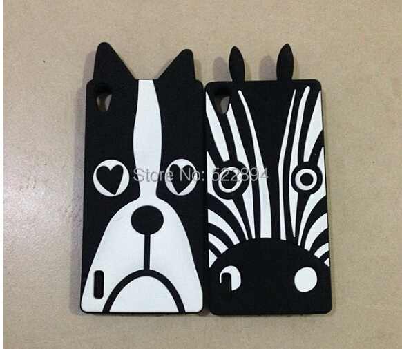 New Fashion 3D Cute Animal Dog Lovely Zebra Cover Case For Huawei Ascend P7 Free Shipping(China (Mainland))
