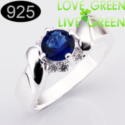 silver plated factory s fashion Band lord king couple Ring jewelry women size 8 361 - LOVE GREEN LIVE GREEN--Crystalized Jewelry store