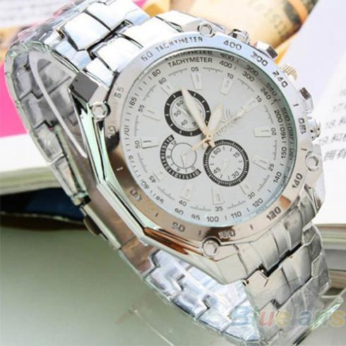 Min 16 Hot Sale Luxury Fashion Men Stainless Steel Quartz Analog Hand Sport Wrist Watch Watches