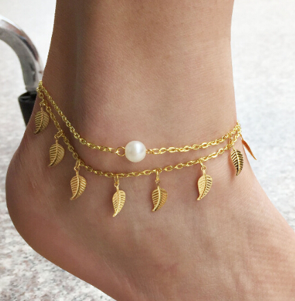 [Min order $10.00 can mixed style] Fresh Foot Jewelry Tassel Leaf Charm Ankle Bracelet Gold Chain Women Anklets Accessory Hot - Lady store