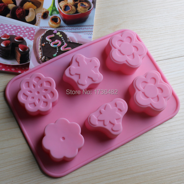 6holes differant patterns silicone mold/Baking tools molds for Bread mousse chocolate cake form bakeware tool free shipping(China (Mainland))