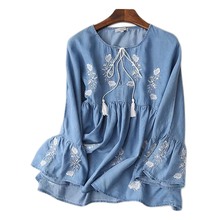 2017 New Round Neck long Sleeve Embroidered Flower Cowboy Blouse Women(China (Mainland))