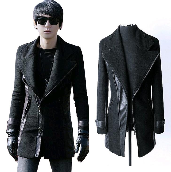 Leather Pea Coat For Men