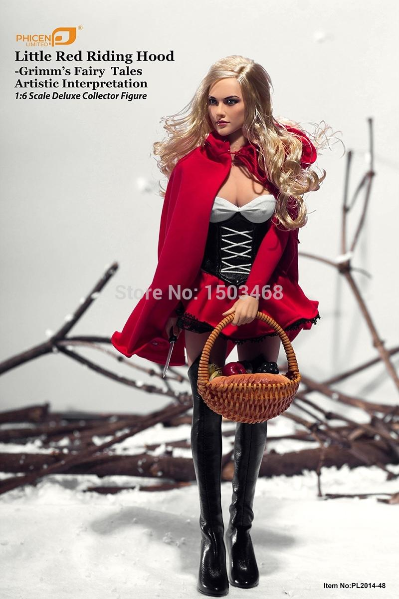 PHICEN 12in1/6 Seamless Body Female soldier Doll Grimm fairy tale Little Red Riding Hood Female soldiers doll toys