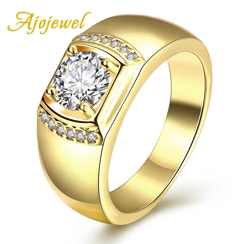 Ajojewel Brand New 4 Carat CZ Diamond Anel Men Rings Gold Plated Wedding Band Ring(China (Mainland))