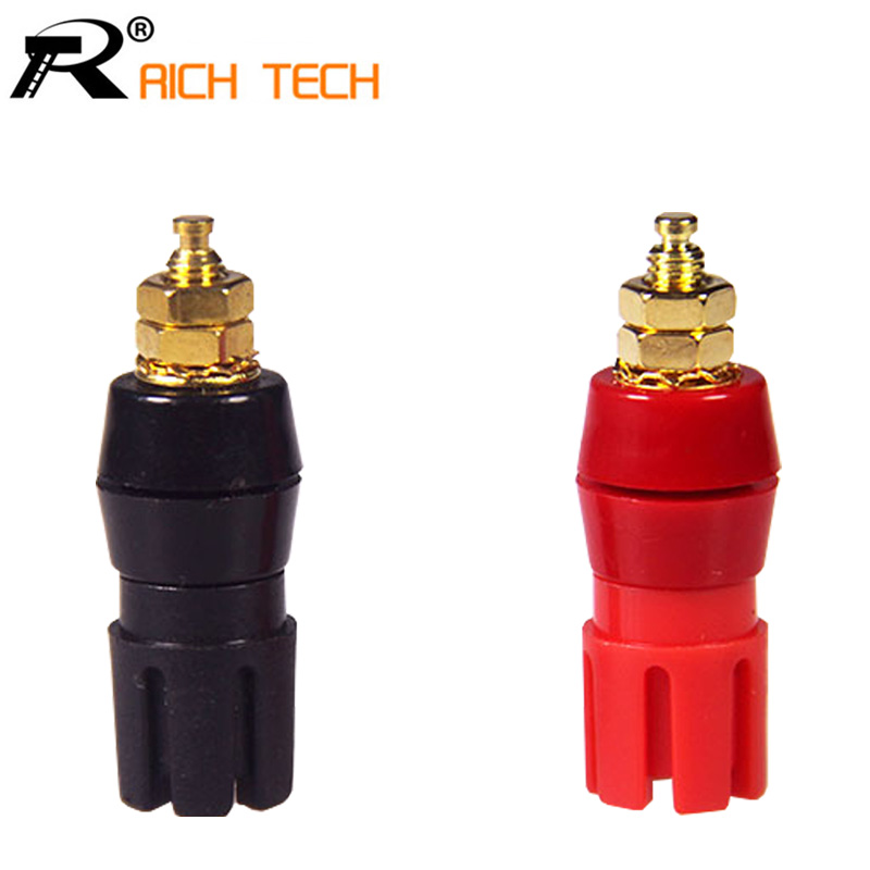 Gold Plated Copper adaptor 2PCS Large Current Amplifier Audio Terminal 4mm Banana Socket Brass Binding Post Connector(China (Mainland))