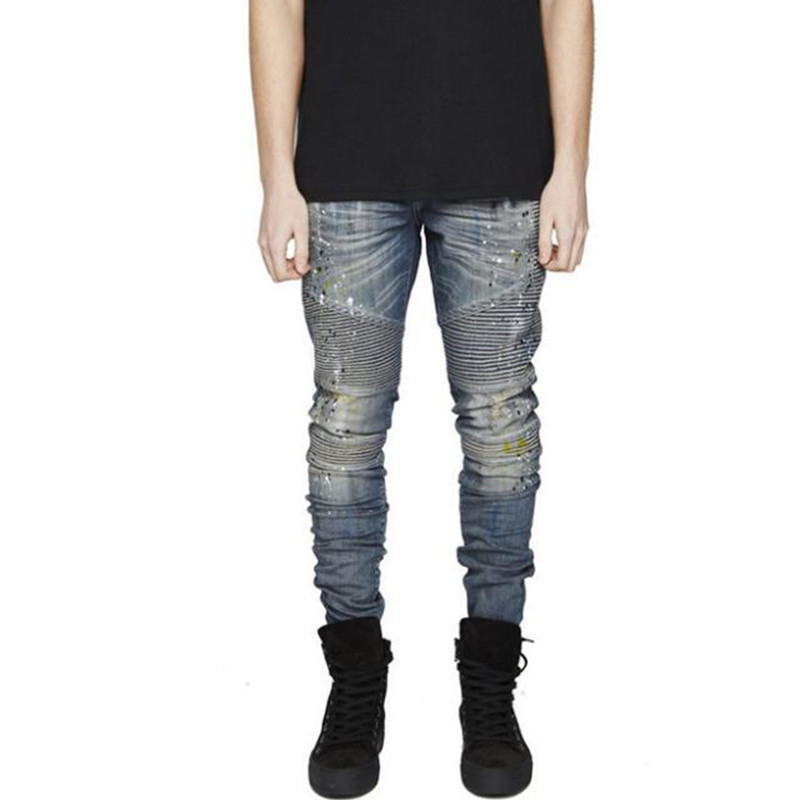 2016 Fashion Mens Painted Moto Jeans 100% Cotton Brand Designer Hi-Street Denim Biker Jeans Men Ripped Motorcycle Jeans Q1904Одежда и ак�е��уары<br><br><br>Aliexpress