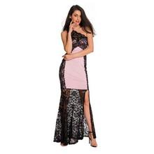 Adogirl Vestidos Saias Femininos Black Lace Patchwork One Shoulder Maxi Party Dress Women Hollow Out Slit Long Mermaid Dresses