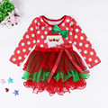 2016 Spring and Autumn Girl Children Fashion Long Sleeve Santa Claus Pattern Lace Layered Tutu Dress