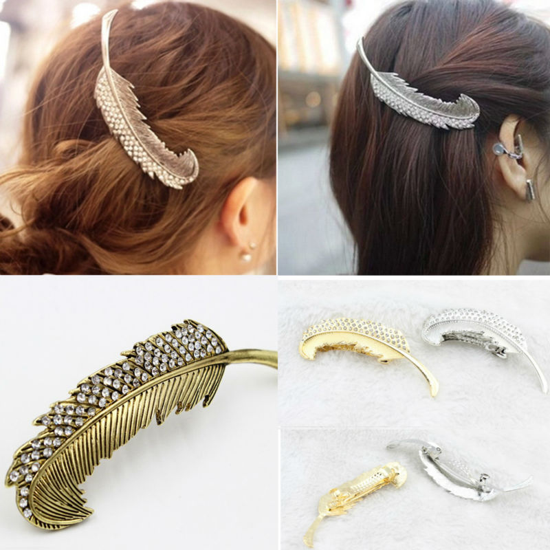 Fashion Retro Gemstone Angel Feather Hair Barrette Clip For Women Gold Silver and Bronze Plated Hair Accessories A9R25C(China (Mainland))