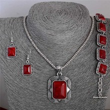 1 Set Vintage Red Stunning Pendant Necklace Earrings Bracelet Jewelry Set For Woman(China (Mainland))