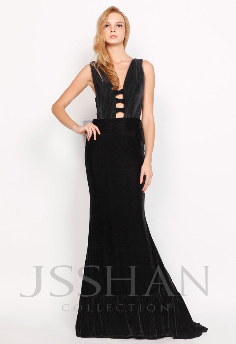 Long black velvet prom dress
