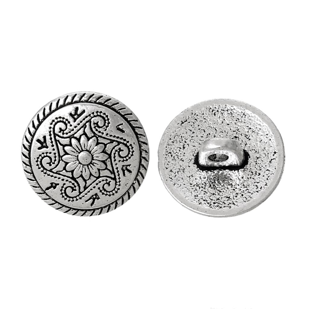 "Zinc metal alloy Shank Button Metal Buttons Round Antique Silver Single Hole Flower Pattern 15.0mm( 5/8"")Dia,8 PCs 2015 new(China (Mainland))"