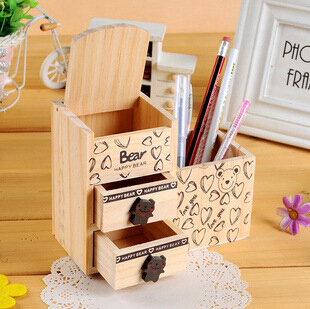 school office accessories cute lovely cartoon bear wooden pencil pen holder with two drawers desk organizer free shipping(China (Mainland))