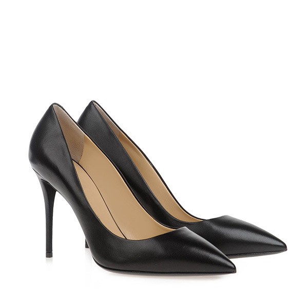 gz high heeled shoes black color pointed toe thin heels