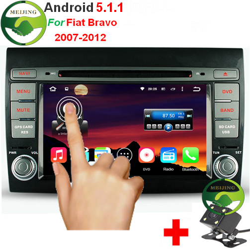 """HD 1024*600 Quad Core 1GB/16GB 2 Din 7"""" Android 5.1.1 Car DVD GPS For Fiat Bravo 2007-2013 With Stereo Radio WiFi OBD DVR(China (Mainland))"""