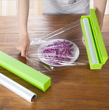 Home Foil Cling Film Cutter Wrap Dispenser Cutter Plastic and Stainless Steel Storage Roll Holder Kitchen Tool Colour Random(China (Mainland))