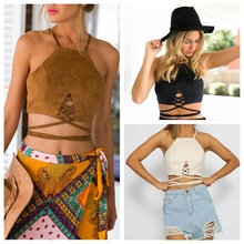 New Women Arrive Faux Suede Halter Cross Hollow Boho Bohemian Bandage Camis Women's Sexy Bustier Bralet Cropped Top Vest Camis(China (Mainland))
