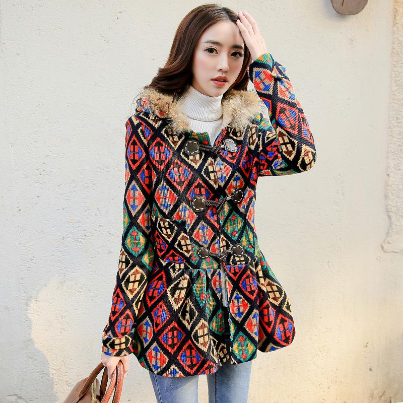 2015 parka pour femmes manteau d 39 hiver veste de laine plus la taille pull poncho en tricot. Black Bedroom Furniture Sets. Home Design Ideas