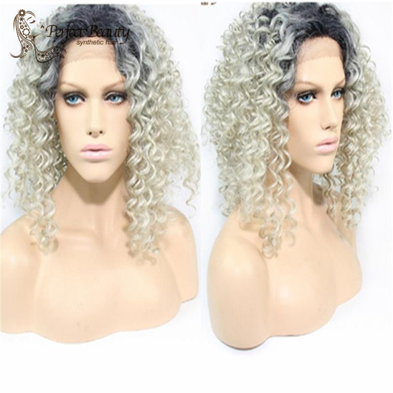 New Sexy Womens Girls Fashion Style ombre grey 18 long curly hair<br><br>Aliexpress