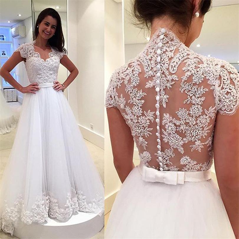 Vestidos де Noiva ком ренда новый V шеи рукавом белого кружева свадебное платье 2016 спинки свадебные платья свадебные платья Casamento