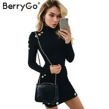 Buy BerryGo Sexy hollow hole bodycon dress Women slim long sleeve black dress Elegant party short dress vestidos de fiesta for $12.99 in AliExpress store