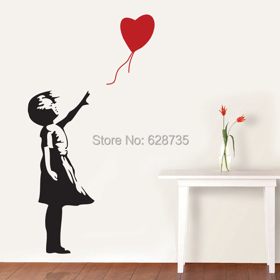 Banksy Wall Decal, Balloon Girl Inspired - Banksy Vinyl Wall Art Sticker ,free shipping A2064(China (Mainland))