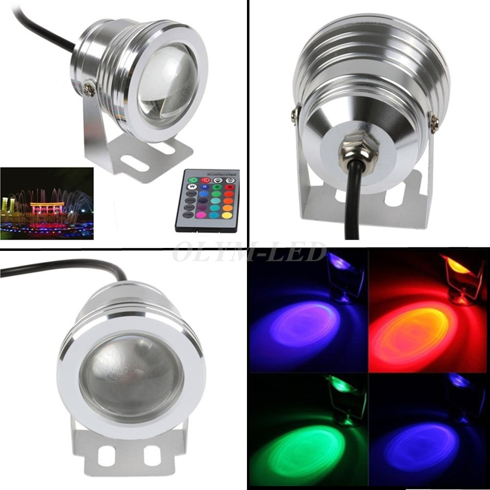 16 Colors 10W RGB 12V LED Underwater Fountain Light 1000LM for Ponds Swimming Pool Aquarium LED Light Lamp Waterproof(China (Mainland))
