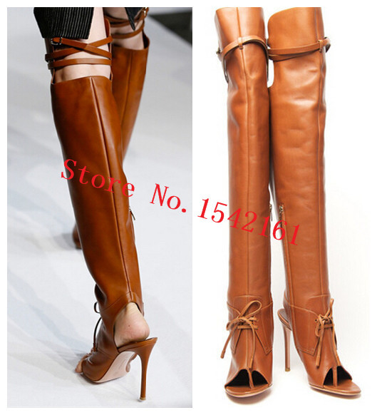 Здесь можно купить  Brown T-shown Full Grain Leather Autumn Boots Open Toe Slingbacks High Heels Thigh High Boots Gladiator Women Boots Shoes Woman  Обувь