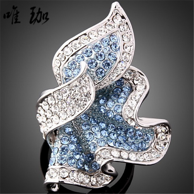 10pcs/lot A024 variety of effects Hot Selling high-grade quality fine inlaid CZ Diamond ring leaves(China (Mainland))