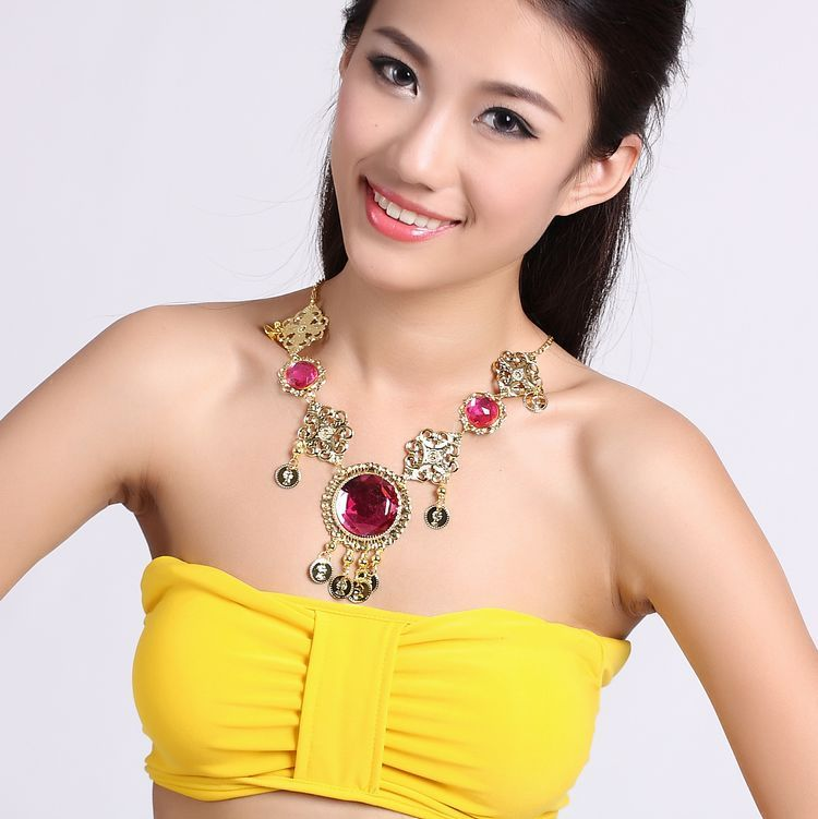 dazzling belly dance Necklace head chain three gems eyebrows Necklace Jewelry 3 color Indian dance stage performance accessories(China (Mainland))