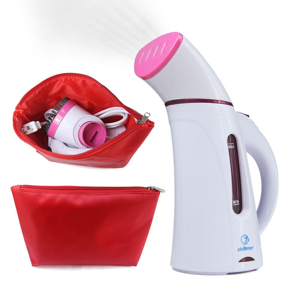 Pink 110V 220V 150ML Portable Frabric Steam Cleaner Mini Travel Garment Steamer Handheld Steamer brush with Zipper Waterproof(China (Mainland))
