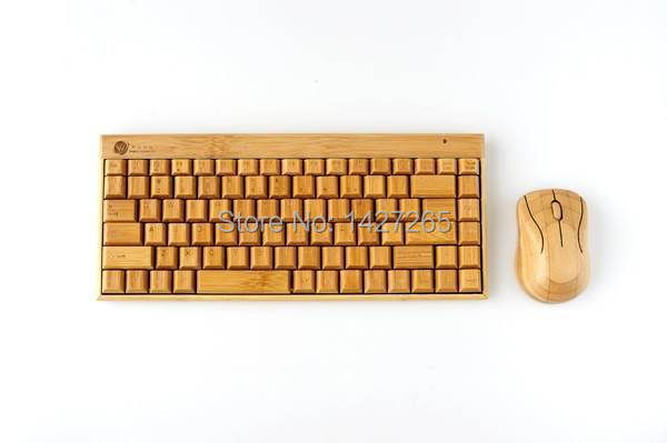 Luxury wireless multimedia bamboo keyboard mouse for PC computer innovative gift wooden wood keyboard mice(China (Mainland))