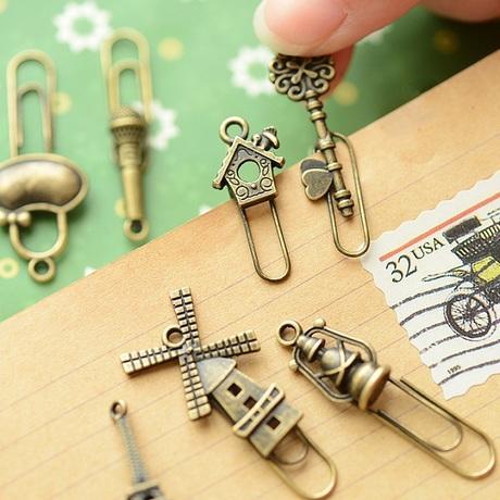 (16 styles) 4 Pcs/Lot Retail Zakka Creative Vintage Iron Bookmarks Vintage Metal Bronze Color Clip bookmark free shipping 630(China (Mainland))