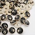 Black CCB Acrylic Enamel 1 Hole Flat Round with Pirate Style Skull Sewing Shank Buttons 18x10mm