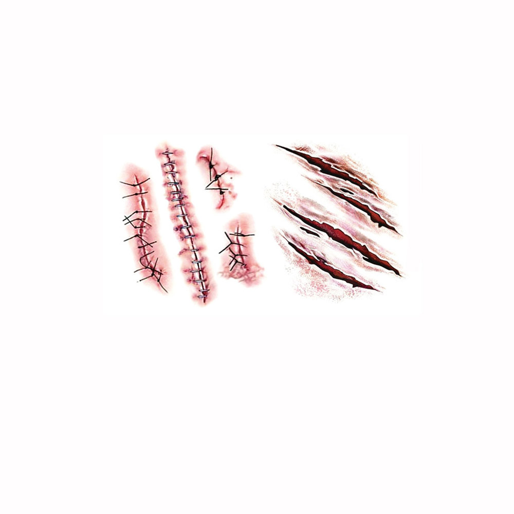 Wholesale fake wound blood scar pattern temporary tattoo for Fake wound tattoos